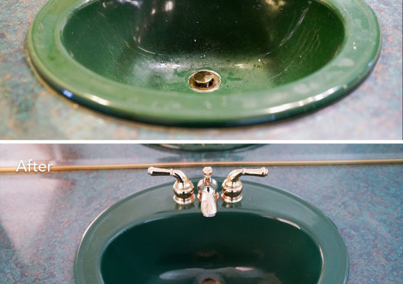 House Cleaning Green Sink